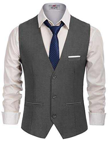 Men's Slim Fit Button Down Vests Premium Business Suit Vest Dark Grey, Small