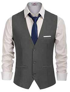 Men's Slim Fit Button Down Vests Premium Business Suit Vest Dark Grey, Small