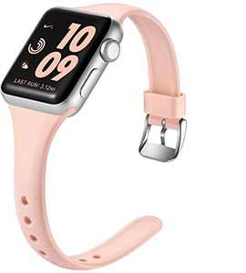 Laffav Compatible with Apple Watch Band 42mm 44mm for Women Men, Soft Silicone Slim Thin Narrow Small Wristband for iWatch SE & Series 6 & Series 1 2 3 4 5, Pink Sand, M/L