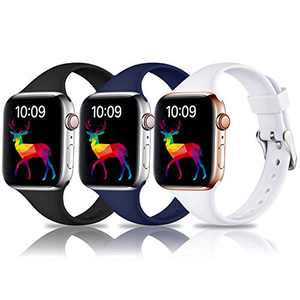 Laffav Compatible with Apple Watch Band 44mm 42mm iWatch SE & Series 6 & Series 5 4 3 2 1 for Women Men, Black, Midnight Blue, White, 3 Pack, M/L
