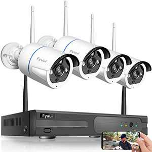 【2 Way Audio】 Wireless Security Camera System,Fyuui 8 Channel 1080P Wireless Surveillance H.265+ NVR 4pcs 2.0 Megapixel (1920×1080P) WiFi IP Bullet Camera Outdoor Indoor, Remote View
