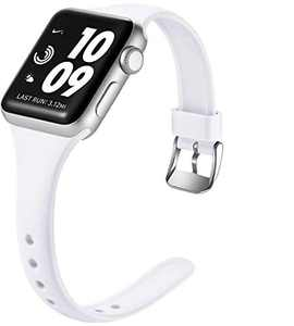 Laffav Slim Band Compatible with Apple Watch 42mm 44mm iWatch SE & Series 6 & Series 5 4 3 2 1 for Women Men, White, S/M