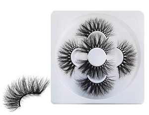 HICOCU 25mm Lashes Real Mink 3 Pairs False Eyelashes Dramatic Look Eyelashes Set Pack