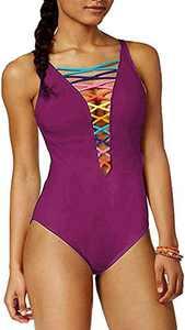 SOFIA'S CHOICE Deep V Neck Hollow-Out Lattice Front Rainbow Bikini One-Piece Swimsuit Wine