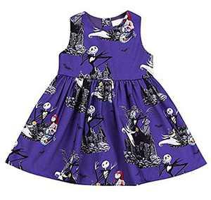 KIDDAD Toddler Baby Girls Halloween Ghost Skull Zombie Print Party Dress Sundress All Saints' Day Sundress Purple
