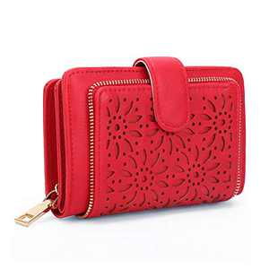 Jstrive Women RFID Blocking Small Organizer Wallet For Ladies Vintage Hollow Purse Multi Card Holder (Red)