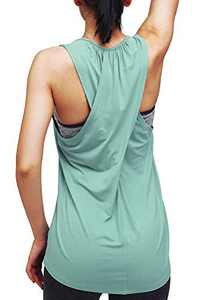 Mippo Womens Tops Workout Tops for Women Cute Yoga Tank Tops Sleeveless Going Out Tops Gym Exercise Shirts Workout Clothes Work Outfits for Women Gym Graylish Green XS