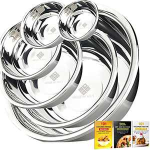 Upgraded Stainless Steel Mixing Bowls (Set of 6) Bonus Recipe eBooks w/QR Code, Nested Bowl Design LARGE 8qt. for Cooking Baking Prepping Food at Home & Great Salad Mixing Bowls For Your Kitchen