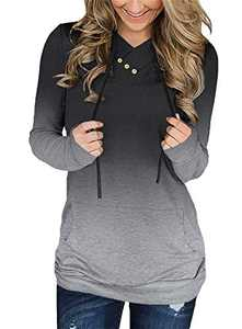 KISSMODA Women's Long Sleeves Sweatshirt Casual Loose Fit Tees with Adjustable Drawstring Black Medium