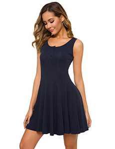 A Grain of Wheat Women's Sleeveless Button Up T-Shirts Dress Softy Plain Knit Tank Tops Flare Dress