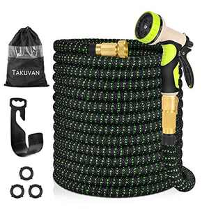 "Takuvan 100ft Expandable Garden Hose, Durable Flexible Expanding Water Hose, Leakproof Lightweight hose with 9 Function Spray Nozzle, Extra Strength Fabric Hose Pipe with 3/4"" Solid Brass Connector"