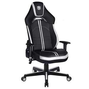 Furious Gaming Chair Racing Style High-Back PU Leather Office Chair Computer Game Gamer Chairs Executive Ergonomic Style Swivel Chair with Headrest Lumbar Support White