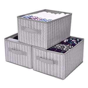 GRANNY SAYS Storage Bin for Shelves, Fabric Closet Organizer Shelf Cube Box with Handle Home Office Storage Baskets, Medium, Gray/White, 3-Pack