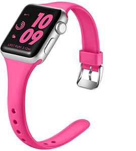Laffav Compatible with Apple Watch Band 42mm 44mm, Soft Silicone Sport Bracelet Wristbands for iWatch Apple Watch SE & Series 6 & Series 5 4 3 2 1, Rose Pink, M/L