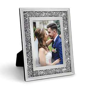 Afuly Glass Picture Frame 4x6 Sparkle Crystal Diamond Photo Frame for Couples Wedding Bling Gifts or Mother's Day