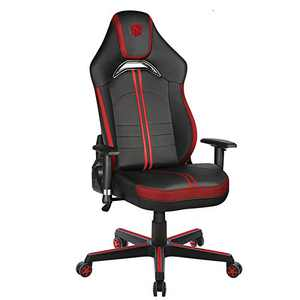 Furious Gaming Chair Racing Style High-Back PU Leather Office Chair Computer Game Gamer Chairs Executive Ergonomic Style Swivel Chair with Headrest Lumbar Support Red