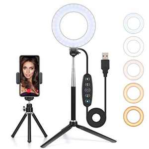 """GEMWON 6"""" Ring Light with Tripod Stand & Phone Holder, Dimmable LED Makeup Circle Light for Selfie, YouTube Video, Streaming, Camera, Tiktok, Webcam"""