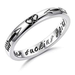 Sllaiss 316L Stainless Steel 2020 Graduation Gifts Thumb Ring for Women Men Inspirational Keep Going Ring Band Stacking Rings(6)