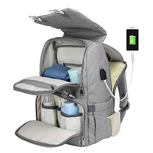 Diaper Bag Backpack, ERFEI Multifunction Travel Back Pack Maternity Baby Changing Bags with Changing Pad & Stroller Straps & Built-in USB Charging Port, Large Capacity, Waterproof and Stylish,Grey