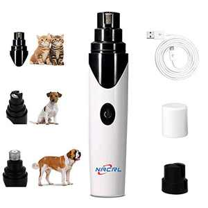 NACRL Pet Dog Nail Grinder, Electric Nail Grooming Tool, Safe and Painless Paw Trimmer File for Small Medium Large Dogs & Cats USB Rechargeable White