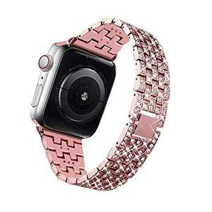 Bling Bands Compatible for Apple Watch Band 38mm 40mm 42mm 44mm Replacement Metal Wristband with Diamond Rhinestone Stainless Steel Bracelet for iWatch Series 4/3/2/1 (Pink, 44 mm)