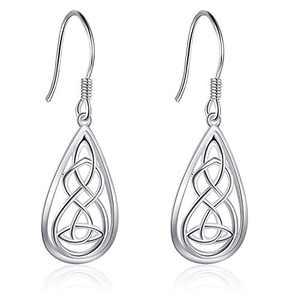 Celtic Earrings Sterling Jewelry Silver Good Luck Irish Celtic Knot Heart Dangle Drop Earrings for Jewelry Christmas Gifts for Women Teens Girls