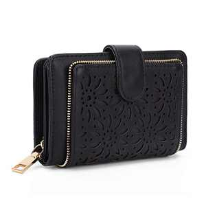 Boho Womens Wallet RFID Blocking Vintage Hollow Wristlet Multi Card Holder Cases for Travel with Zipper,Black