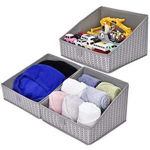 GRANNY SAYS Trapezoid Storage Bins, Closet Shelf Organizer Bins, Fabric Storage bin, Gray/White, 3-Pack