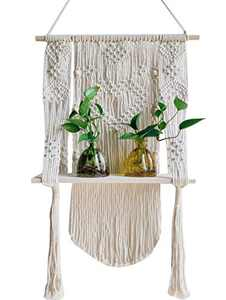 Macrame Plant Hanger Boho Wall Hanging Shelf Rope Pot Holder for Home Wall Decor Biege