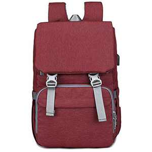 Diaper Bag Backpack, ZIRUNG Multifunction Travel Back Pack Maternity Baby Changing Bags with Changing Pad & Stroller Straps & Built-in USB Charging Port, Large Capacity, Waterproof and Stylish,Red