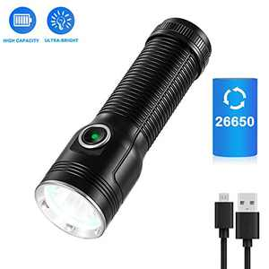 1300 Lumens Flashlight, USB Rechargeable LED Tactical Flashlights with CREE LED, 26650 Battery, IP65 Waterproof, Pocket-Sized, 5 Light Modes Torch Light for Home, Camping, Security, Emergency Use