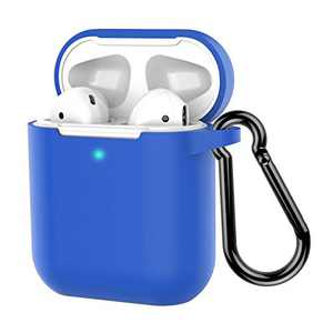 Coffea Protective Silicone Case with Keychain for Apple AirPods 2 (Blue)