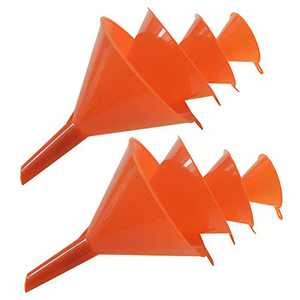 U-BCOO 4-Piece Plastic Funnel Set, Laboratory Car Kitchen Household Tools, Liquid, Dry Goods, Bottles, Cans, Etc. Multipurpose Wide Mouth Funnel (4pc2, Bright Orange)