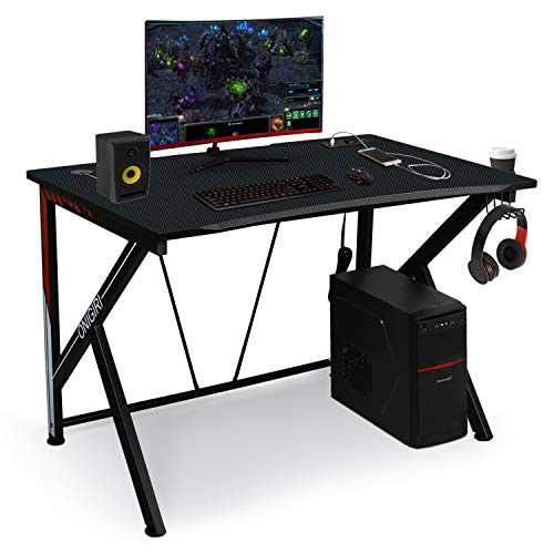 """LYNSLIM Gaming Desk Computer Table 45.66"""" Large E-Sports Home Computer Desk with Multi-Function Socket Large Carbon Fiber Surface,Heavy Duty Construction for Home or Office Workstation Game Table"""