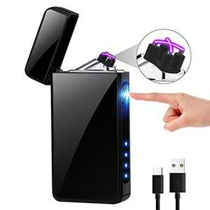 KIMILAR Electric Lighter, USB Rechargeable Lighter Flameless Touch Sensor Dual Arc Windproof Lighter with Power Indicator and USB Cable in Gift Box Packaging