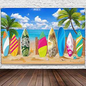 Surfboard Party Decorations Beach Backdrop Party Beach Surfboard Backdrop Party Banner Tropical Hawaiian Party Backdrop Banner for Beach Weddings Party Decorations, 72.8 x 43.3 Inch (style1)