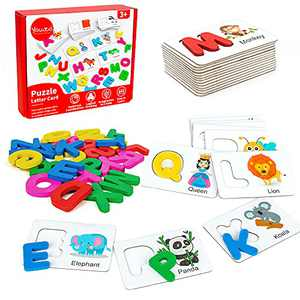 Youwo Alphabet Flash Cards, Preschool Activities Wooden Letters Jigsaw Matching Games, Learning Recognition Sight ABC Color Words Puzzle, Montessori Educational Toys for Toddlers Age 3 Year Old