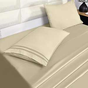 Eternal Moment Bed Sheet Set Brushed Microfiber, Wrinkle, Fade, Stain Resistant, 4pc Sheet Set- - Beige, Twin