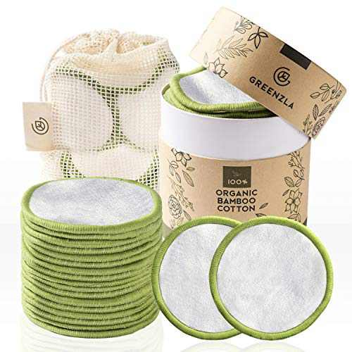 Greenzla Reusable Makeup Remover Pads (20 Pack) With Washable Laundry Bag And Round Box for Storage   100% Organic Bamboo Cotton Pads For All Skin Types   Eco-Friendly Reusable Cotton Rounds For Toner