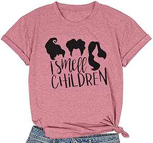 MOUSYA Halloween T-Shirt for Women of I Smell Children, Short Sleeve O-Neck Graphic Tee for Lady, Purple