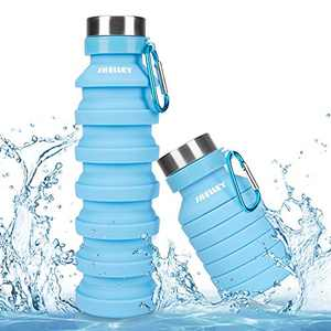 Shelley-bell Collapsible Water Bottle,Reusable Silicone Light Water Bottles for Travel Outdoor Portable Leakproof Drinking Bottles with Carabiner
