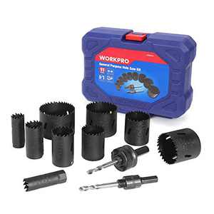 WORKPRO Hole Saw Kit, 11 Piece, Bi-Metal Hole Drills, High Speed Steel M42 Drill Hole Cutter with Mandrels in Hard Case for Cutting Stainless Steel, Brass, Aluminum, Steel and Wood