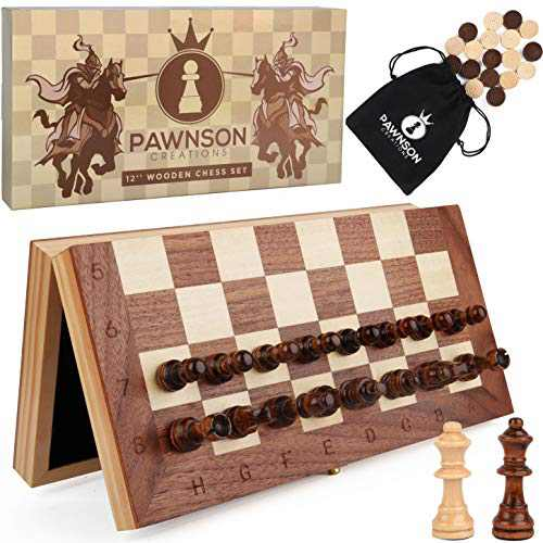 Magnetic Wooden Chess Checkers Set for Kids and Adults - 12 Staunton Chess Set - Travel Portable Folding Chess Board Game Sets - Storage for Wood Pieces - Unique E-Book for Beginner - 2 Extra Queens