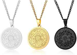 XUANPAI Seals of The Seven Necklaces, Archangels Pendant Choker Statement Necklace for Men Talisman Pendants Amulet Jewellery Gift for Christmas Birthday Party Anniversary