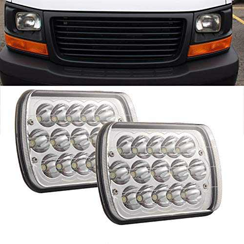 "GSRECY 5x7"" 7x6"" Inch LED Headlight Assemblies Hi/Lo Sealed Beam 6000K Replace H6014 / H6052 / H6054 Bulb Headlamps Fit Trucks Jeep Wrangler XJ YJ Sedans GMC Express Savana(Pack of 2)"