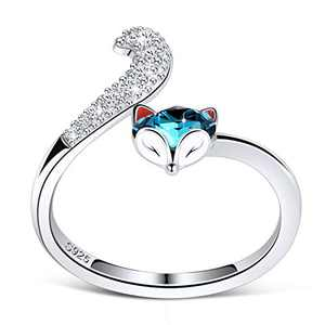 PLATO H S925 Sterling Silver Fox Animal Ring Crystals for Women Teen Girl High Polish Plain Adjustable Fox Tail Funky Ring Anniversary Jewelry Valentines Day Gifts for her