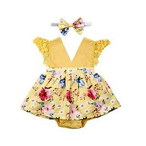 Toddler Baby Girl 2Pcs Romper + Headband Floral Sleeveless Lace Infant Newborn Jumpsuit Sets (12-18 Months, Yellow)