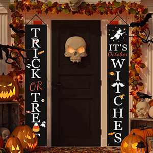 Halloween Decorations Outdoor   Trick or Treat & It's October Witches Front Porch Signs for Halloween Decor   Fall Decor   Halloween Welcome Sign