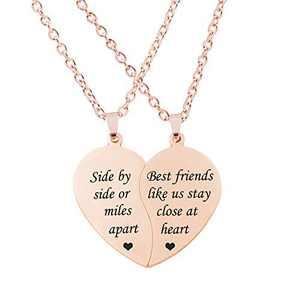 MJartoria BFF Necklace for 2-Split Valentine Heart Necklace Together Forever Never Apart Best Friends Pendant Friendship Necklace Set of 2 Gifts for Her(Z-Side By Side-rose gold)