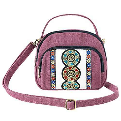 Small Canvas Crossbody Bag for Women Embroidery Cell Phone Pouch Mini Purses Shoulder Bag for Women Girls